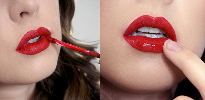 červený rúž na pery